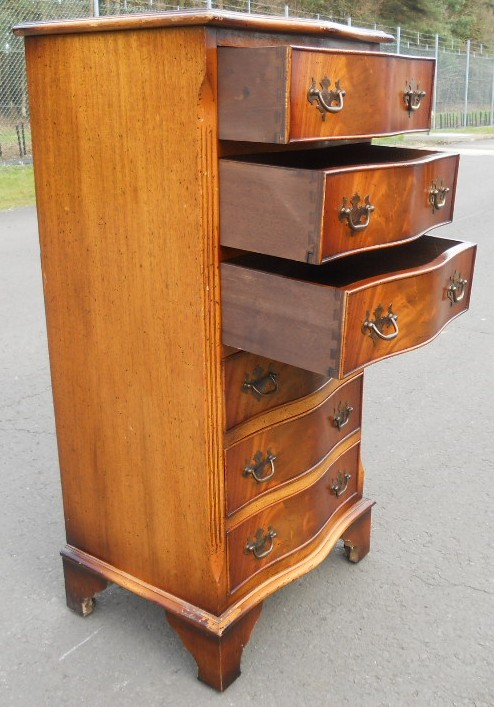 Tall Narrow Yew Wood Chest Of Drawers